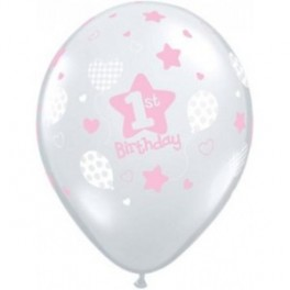 1st Birthday  Clear with Pink Print Balloon