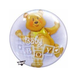 Baby Boy Blocks & Bear Double Bubble