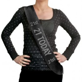 21st Birthday Sash (Black)