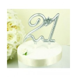 21st Birthday  Cake Topper Silver