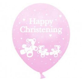 Christening Pink Balloon Latex (Inflated)