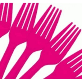Hot Pink Forks (25 Pack)