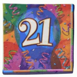 '21' Printed Napkin (16 Pack)