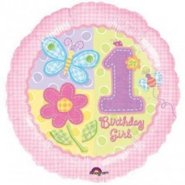 "1st Birthday Pink Balloons (18"" Foil Inflated)"