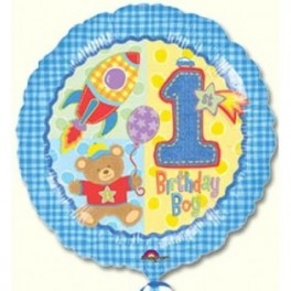 "1st Birthday Blue Balloons (18"" Foil Inflated)"