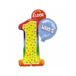 1st Birthday look who's 1 Balloon (87cm Foil Inflated)