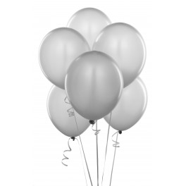 Silver Balloons (12 Pack) With Ribbon