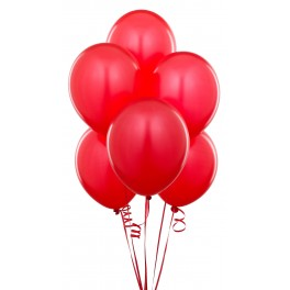 Red Balloons (12 Pack) With Ribbon